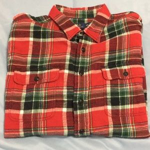 Holiday plaid casual button down
